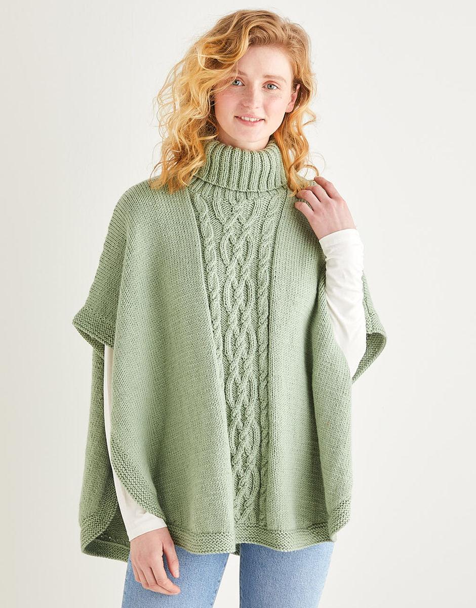 shall Size S Burnt Orange Knit Poncho vintage knit Fall Sweater